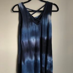 Tie dye short cotton dress